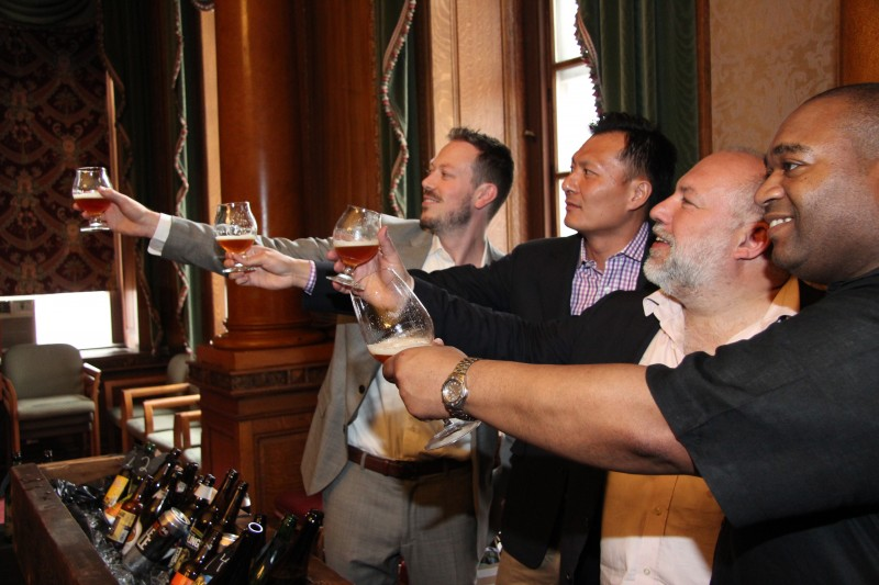 At Judgement of Brooklyn tasting with (from left) Brendan Woodcock (certified Cicerone from Luksus/Tørst), James Tai (certified Cicerone), Jimmy Carbone, and Michael Brooks.